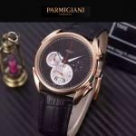 PARMIGIANI-08-6 新款Tonda Metrographe土豪金配黑色多功能計時進口石英腕錶