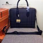 BURBERRY-0242-01 專櫃時尚新款牛皮配格調PVC男士手提公文包