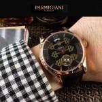 PARMIGIANI-06-5 潮流男士土豪金配黑底三護橋字面自動機械腕錶