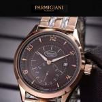 PARMIGIANI-04-13 全新男士間金系列配褐底316精鋼錶殼進口石英腕錶