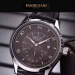 PARMIGIANI-04-4 全新男士閃亮銀配褐底316精鋼錶殼進口石英腕錶