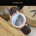 PARMIGIANI-07-9 時尚精品男士土豪金兩針設計全自動鏤空機械腕錶