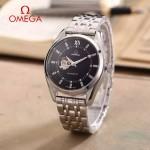OMEGA-178-12 商務男士鏤空設計閃亮銀配黑底316精鋼錶殼全自動機械腕錶
