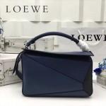 LOEWE 0160-07 專櫃時尚新款Puzzle Bag拼色系列原版小牛皮手提單肩包