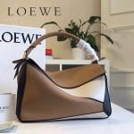 LOEWE 0160-05 專櫃時尚新款Puzzle Bag拼色系列原版小牛皮手提單肩包