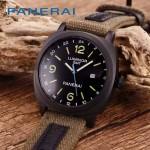 PN1205-3 戶外運動必備男士槍色五金加厚帆布縫真皮進口石英腕錶