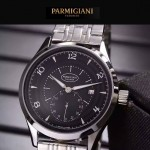 PARMIGIANI-04-15 全新男士閃亮銀配黑底316精鋼錶殼進口石英腕錶