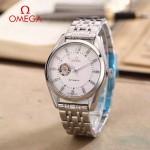 OMEGA-178-17 商務男士鏤空設計閃亮銀配白底316精鋼錶殼全自動機械腕錶
