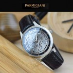 PARMIGIANI-07 時尚精品男士閃亮銀兩針設計全自動鏤空機械腕錶