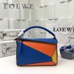 LOEWE 0160-06 專櫃時尚新款Puzzle Bag拼色系列原版小牛皮手提單肩包