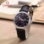 OMEGA-179-3 潮流男士多功能閃亮銀配黑底皮帶款原裝全自動機械腕錶