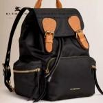 Burberry-0247-03 潮流時尚新款原單材質牛皮配防水紡布可以繡字中號雙肩包
