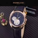 PARMIGIANI-08-3 新款Tonda Metrographe土豪金配藍色多功能計時進口石英腕錶