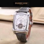 PARMIGIANI-02-3 潮流男士TOURBILLON系列閃亮銀配白底飛輪設計自動機械腕錶