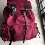 Burberry-0246-04 潮流時尚新款原單材質牛皮配防水紡布可以繡字大號雙肩包