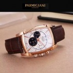 PARMIGIANI-01-7 商務男士兩針半系列土豪金配白底進口石英腕錶