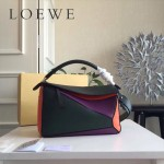 LOEWE 0160-04 專櫃時尚新款Puzzle Bag拼色系列原版小牛皮手提單肩包