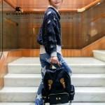 Burberry-0246-01 潮流時尚新款原單材質牛皮配防水紡布可以繡字大號雙肩包