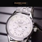 PARMIGIANI-04-16 全新男士閃亮銀配白底316精鋼錶殼進口石英腕錶