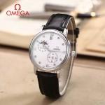 OMEGA-179 潮流男士多功能閃亮銀配白底皮帶款原裝全自動機械腕錶