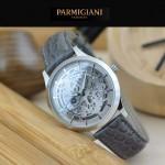 PARMIGIANI-07-5 時尚精品男士閃亮銀兩針設計全自動鏤空機械腕錶