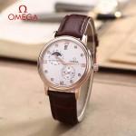 OMEGA-179-2 潮流男士多功能玫瑰金配白底皮帶款原裝全自動機械腕錶