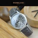 PARMIGIANI-07-8 時尚精品男士閃亮銀兩針設計全自動鏤空機械腕錶