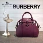 Burberry-0244 專櫃時尚新款原版皮拼經典格子布保齡球包