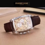 PARMIGIANI-01-8 商務男士兩針半系列閃亮銀配金底進口石英腕錶