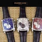PARMIGIANI-09-10 商務男士閃亮銀配褐色礦物質強化玻璃瑞士9100機械腕錶