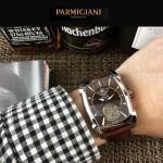 PARMIGIANI-010-6 潮流男士Kalpa系列閃亮銀配褐底拱形鍍膜玻璃自動機械腕錶