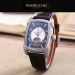 PARMIGIANI-02 潮流男士TOURBILLON系列磨砂銀配黑底飛輪設計自動機械腕錶