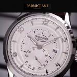 PARMIGIANI-04-2 全新男士閃亮銀配白底316精鋼錶殼進口石英腕錶