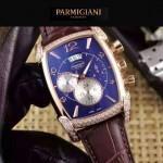 PARMIGIANI-09 商務男士土豪金鑲鑽礦物質強化玻璃瑞士9100機械腕錶