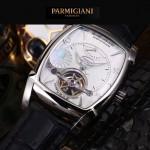 PARMIGIANI-05-5 爆款男士閃亮銀配白底天工甲版設計8N25自動機械腕錶