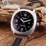 PN1205-8 戶外運動必備男士閃亮銀五金加厚帆布縫真皮進口石英腕錶