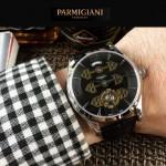 PARMIGIANI-06-2 潮流男士閃亮銀配黑底三護橋字面自動機械腕錶