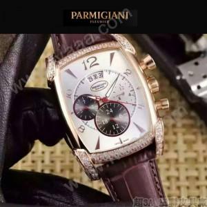 PARMIGIANI-09-4 商務男士土豪金鑲鑽礦物質強化玻璃瑞士9100機械腕錶