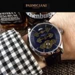 PARMIGIANI-06-4 潮流男士閃亮銀配藍底三護橋字面自動機械腕錶