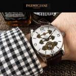 PARMIGIANI-06-3 潮流男士閃亮銀配白底三護橋字面自動機械腕錶