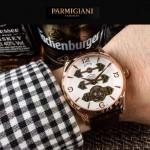 PARMIGIANI-06-7 潮流男士土豪金配白底三護橋字面自動機械腕錶