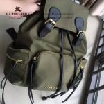 Burberry-0247-02 潮流時尚新款原單材質牛皮配防水紡布可以繡字中號雙肩包