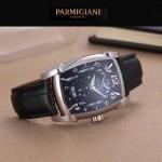 PARMIGIANI-01-2 商務男士兩針半系列閃亮銀配黑底進口石英腕錶
