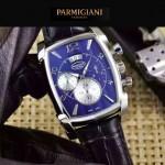 PARMIGIANI-09-6 商務男士閃亮銀配黑色礦物質強化玻璃瑞士9100機械腕錶