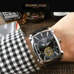 PARMIGIANI-010 潮流男士Kalpa系列閃亮銀配黑底拱形鍍膜玻璃自動機械腕錶