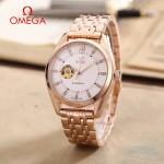 OMEGA-178-16 商務男士鏤空設計玫瑰金配白底316精鋼錶殼全自動機械腕錶