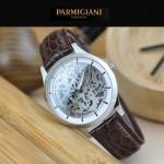 PARMIGIANI-07-6 時尚精品男士閃亮銀兩針設計全自動鏤空機械腕錶