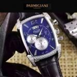 PARMIGIANI-09-2 商務男士閃亮銀鑲鑽礦物質強化玻璃瑞士9100機械腕錶