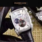 PARMIGIANI-09-3 商務男士閃亮銀鑲鑽礦物質強化玻璃瑞士9100機械腕錶