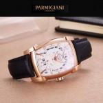 PARMIGIANI-01 商務男士兩針半系列土豪金配白底進口石英腕錶